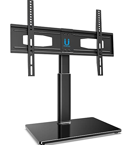 FITUEYES Universal Table Top TV Stand for 32 to 60 Inch TVs with 80 Degree Swivel, 6.2 Inch Height Adjustment,Tempered Glass Base,Hold up to 66lbs Screens