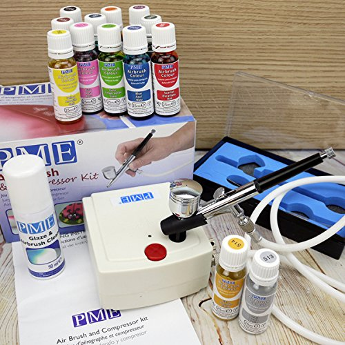 PME Airbrush Kit, 13 Edible Food Colourings And Glaze & Airbrush Cleaner CakeCraftWorld
