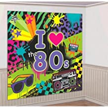 """Amscan Awesome 80's Party Wall Scene Setter Decorating Kit (4 Piece), Multi Color, 14.5 x 10"""""""