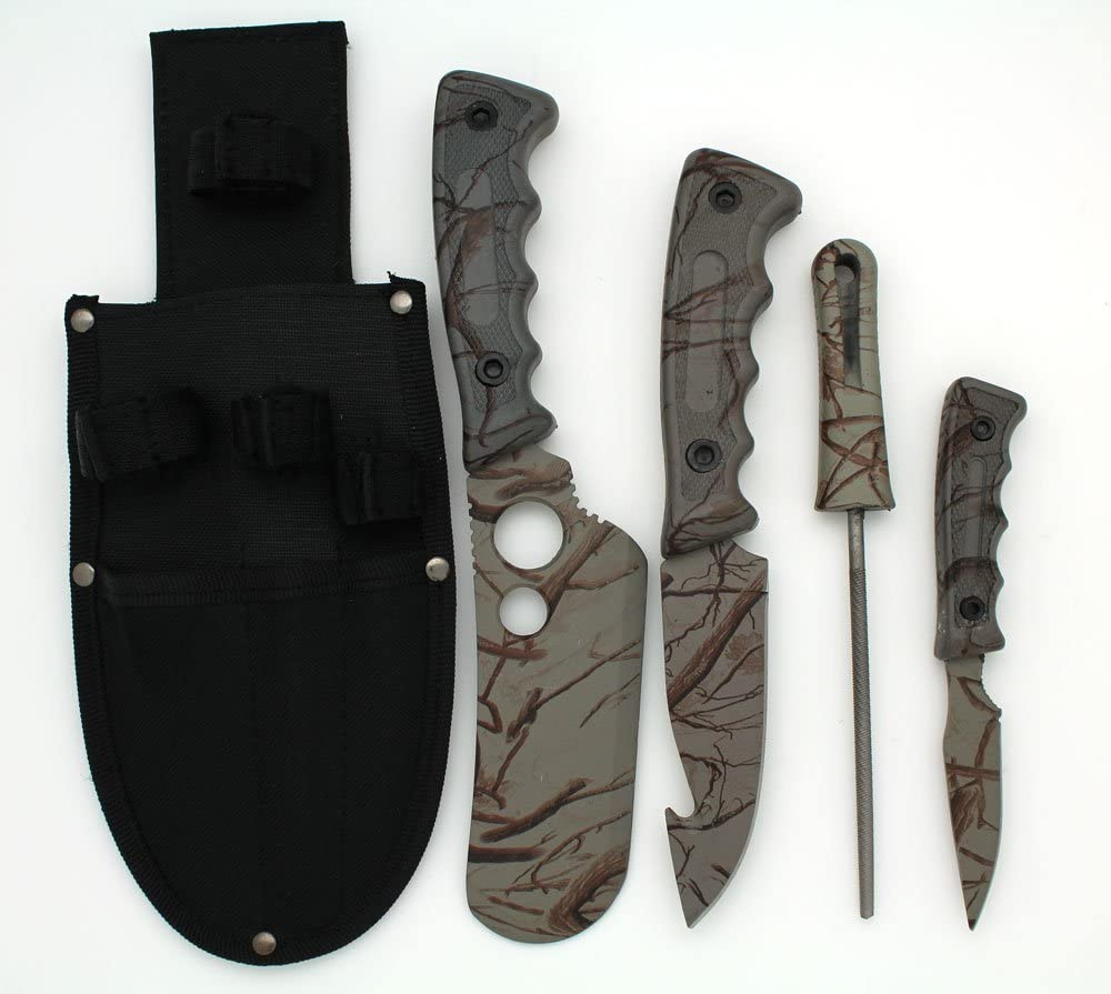Snake Eye Tactical 5 Piece Big Game Hunting Skinning Knife Set Grey Camo