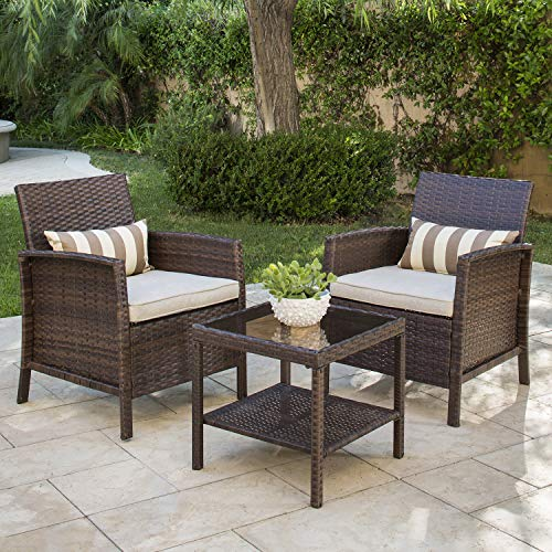 Solaura Outdoor Garden Furniture Sets 3-Piece Patio Furniture Brown Wicker Patio Bistro Set Light Brown Cushions & Coffee Table