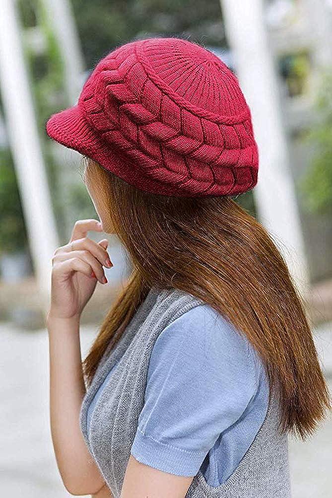 ANEMEL Women Hat Winter Warm Beret Knit Wool Caps with Visor