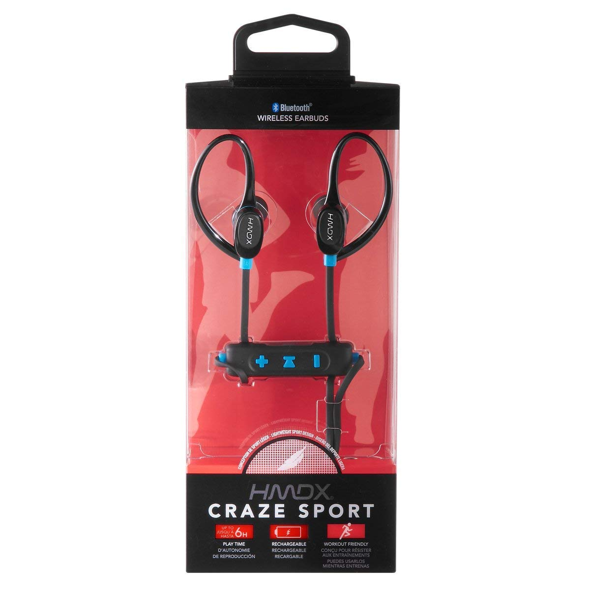 e885cac0150 Amazon.com: HMDX Craze Active Sport Bluetooth Wireless Earbuds, Sweatproof  earphone, Ear hook clip, Hands-Free Calling w/Mic Controls, 6 Hours  Playtime, ...