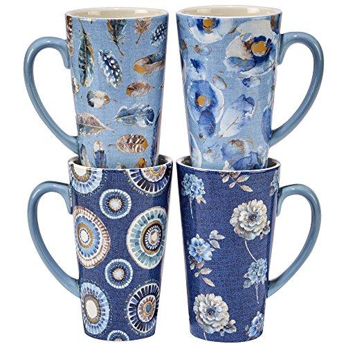 Certified International Indi-Gold Latte Mugs (Set of 4), 16 oz, Multicolor