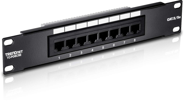 TRENDnet 8-Port Cat5/5e Unshielded Wallmount or Rackmount Patch Panel, 10 Inch Wide, 8 x Gigabit RJ-45 Ethernet Ports, TC-P08C5E