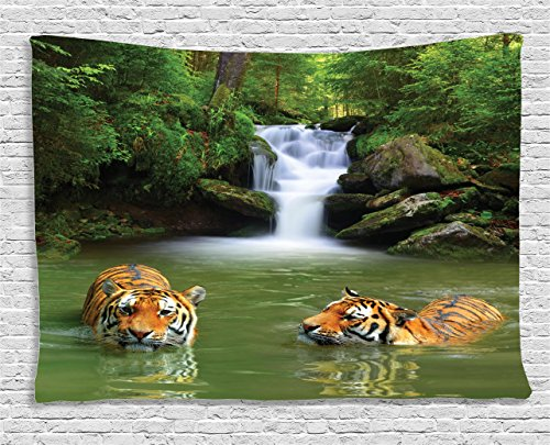 Safari Decor Tapestry by Ambesonne, Siberian Tigers in Water Waterfall Pool Woodland Swimming Asian Natural , Wall Hanging for Bedroom Living Room Dorm, 60 W X 40 L Inches - Water Wall Tapestry