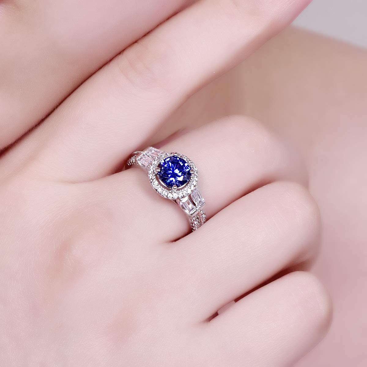 PAKULA 925 Sterling Silver Women Simulated Tanzanite Halo Promise Ring for Her