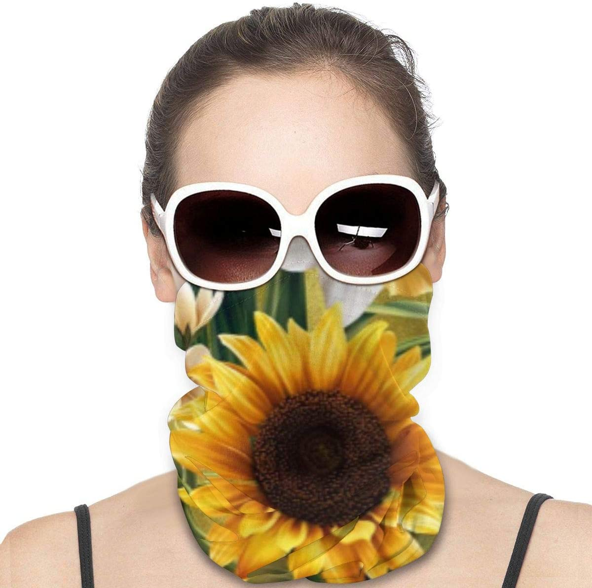 hfdff Ghette a Farfalla Girasole Dorato Girocollo per Donna Bandane estive per Uomo Cover per Viso Fresca e Traspirante
