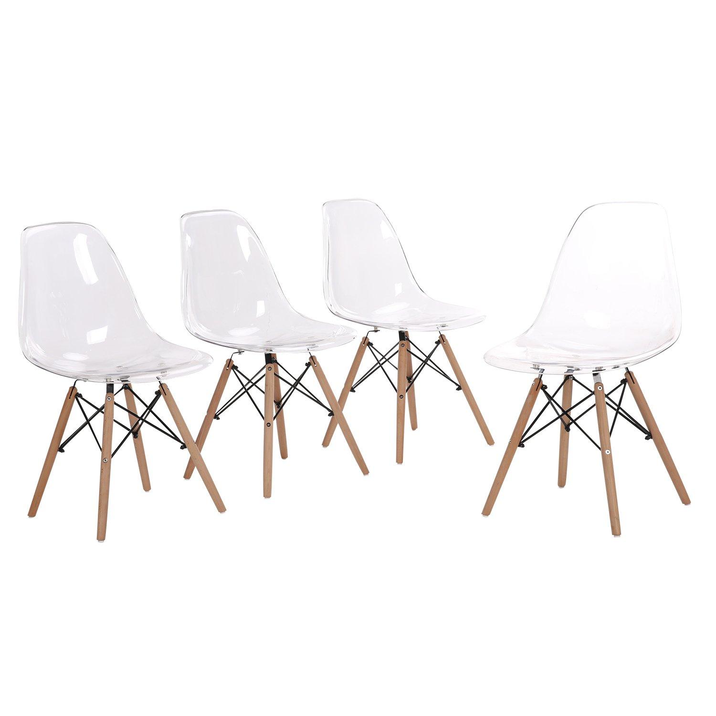 Lot de 4 chaises design tendance rétro eiffel bois chaise de salle à manger (Transparent)