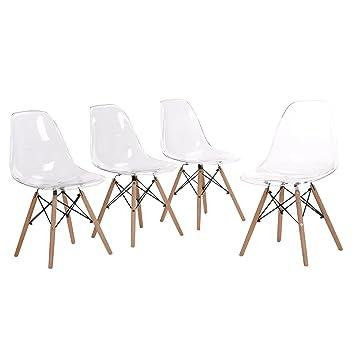 eggree lot de 4 chaise transparente scandinave chaise salle a manger chaise de cuisine en polycarbonate - Chaise Transparente Design
