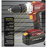 """Chicago Electric 18 Volt Cordless 1/2"""" Drill/Driver with Keyless Chuck"""