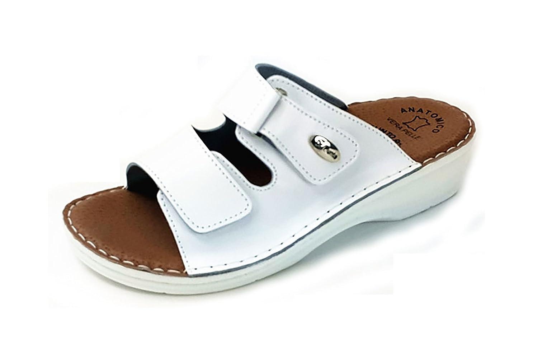 Dr Punto Rosso BRIL D54 Sandali Zoccoli Zoccoli Zoccoli Sabot Pantofole Scarpe Pelle Donna Bianco 785478