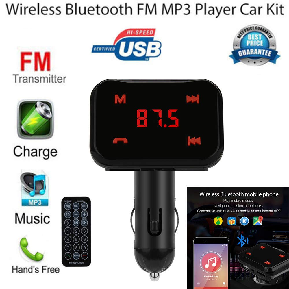 Amazon Com Livoty Car Charger Bluetooth Mp3 Kit Hands Free Fm Transmitter Cigarette Lighter Usb Charger U Disk Game Black Sports Outdoors