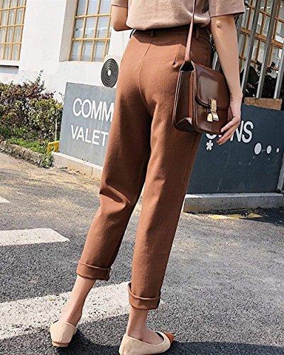 Solidi High Tempo Classiche Donna Pantaloni Donne Libero Estivi Colori Slim Kaffee Donna Pantaloni Fashion Pantaloni Pantaloni Per Grazioso Eleganti Unique Dritti Waist Primaverile Allentato fndIwYtdx