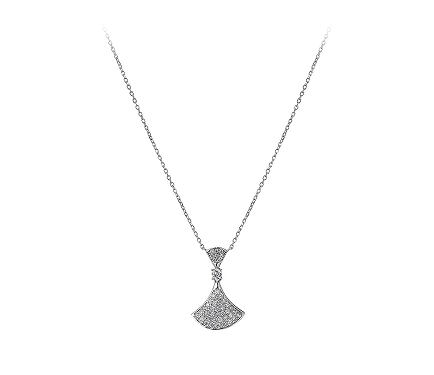 Daesar 925 Silver Necklace for Women Fan Shaped Necklace Cubic Zirconia Pendant Chain Length:41.5CM