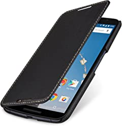 StilGut® Book Type Case - Senza Magnete -, Custodia in Vera Pelle a Libro per Google Nexus 6 e Motorola Nexus 6, Nero