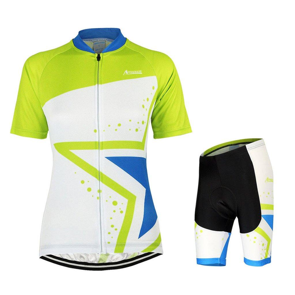 GWELL Damen Fahrradtrikot Set Fahrrad Anzug Fahrradbekleidung Trikot Kurzarm + Radhose mit 3D Sitzpolster