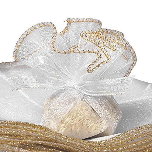 White Organza Circles With Gold 9