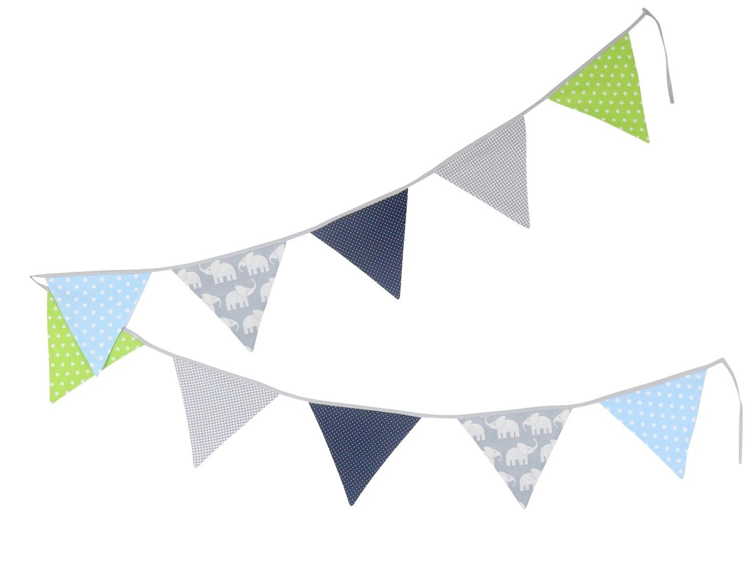 ULLENBOOM ® Bunting – Mint Grey (Fabric Garland: 1.25 m, 3 pennants, Nursery Decoration, Baby Showers)