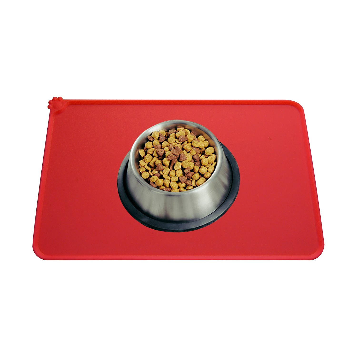 Guardians Dog Food Mat, Silicone Pet Feeding Mats, Non Slip Waterproof Cat Bowl Trays Food Container Placemat for Small Animals (18.5''x11.8'', Red) by Guardians (Image #2)