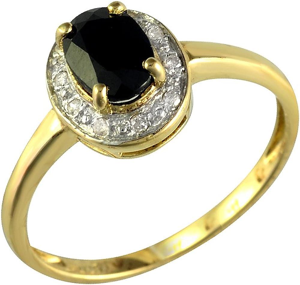 Bijoux pour tous - Anillo de plata bañada en oro 9 quilates con zafiro (.005)