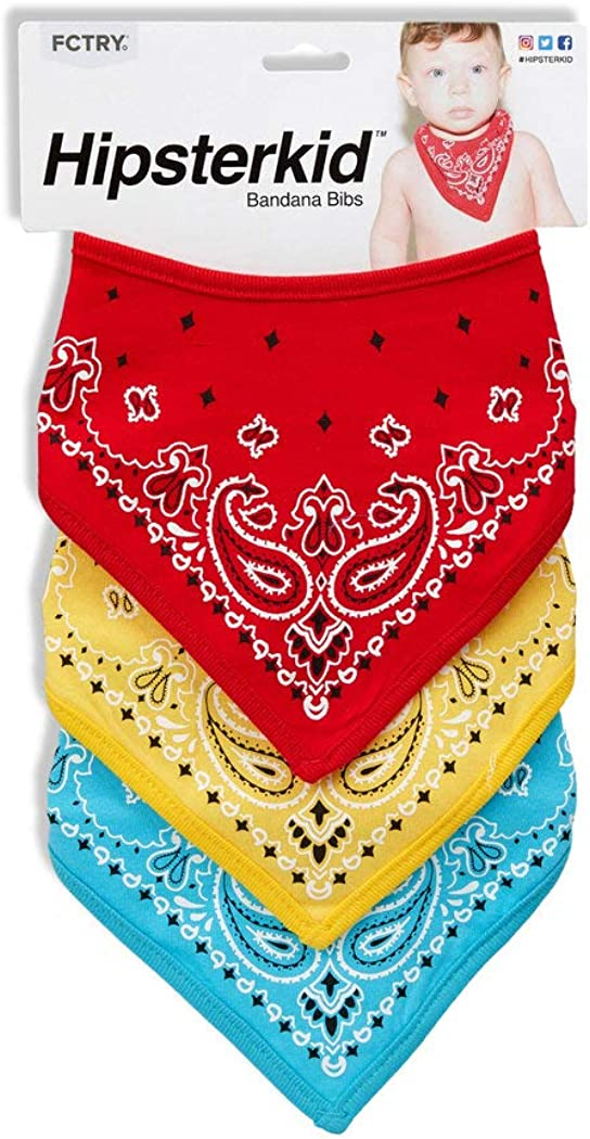 Hipsterkid Bandana Bibs, for Boys, Girls, Babies, Toddlers - Absorbent Mess Free - Soft Cotton/Polyester, Set of 3