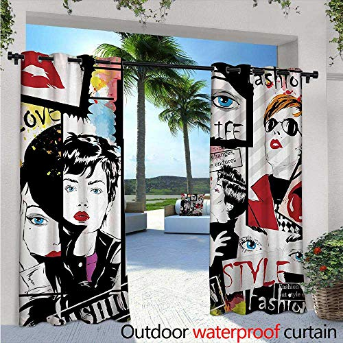 Teen Girls Outdoor Privacy Curtain for Pergola W96 x L96 Fashion Girl in Sketch-Style Illustration Glamour Modern Model Portrait Art Print Thermal Insulated Water Repellent Drape for Balcony Red Bl ()