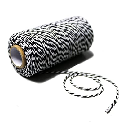 Bakers Twine 100 Yard Cotton String 2 Ply Craft Twine for Packing Gardening and Wrapping Gifts (Black + White): Office Products