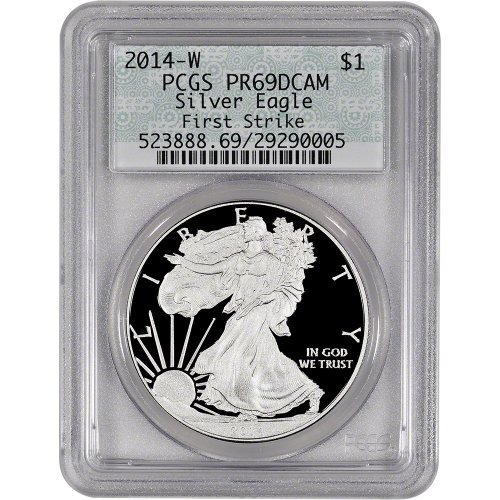 2014 W American Silver Eagle Proof $1 PR69 DCAM - First Strike - Doily Label PCGS