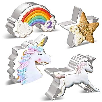 KAISHANE Cortador de Galletas de Unicornio para niños Unicornio, Cabeza de Unicornio, Arcoiris, Estrella, Estrella fugaz 5 Formas Acero Inoxidable Grande: ...