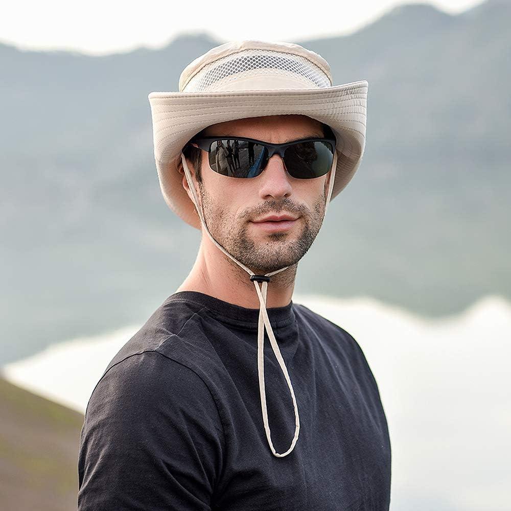 con Cappuccio di Protezione Solare Cappello a Tesa Larga per Campeggio Safari di Pesca Escursionismo DecStore Cappello da Pesca allaperto da Uomo in Maglia Traspirante UPF 50