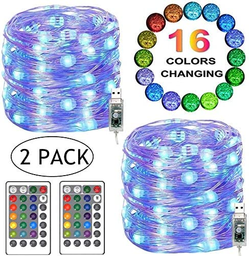 LiyuanQ LED String Lights, 2 Set Multi Color Changing Fairy Lights USB Plug-in Fairy String Lights Remote Timer, 4 Modes Indoor Decorative Silver Wire Lights Bedroom Party Xmas 16 Colors, 100 LEDs