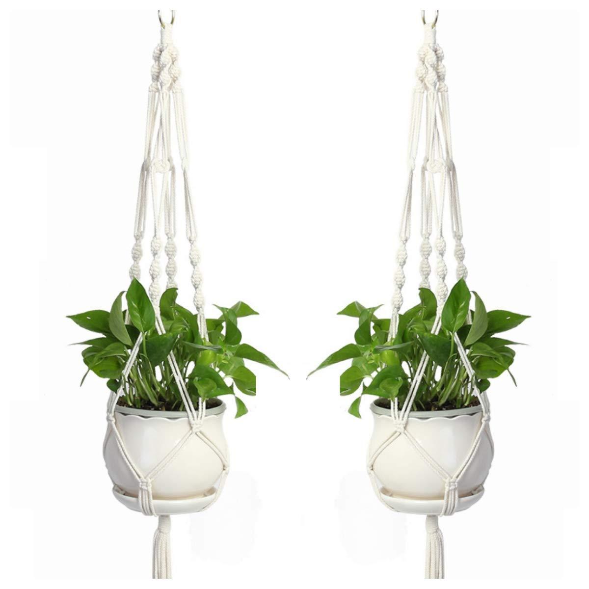 Macrame Plant Hanger Set of 2, 41 Inch Handmade Cotton Plant Holder Hanging Planter Wall Art,Flower Pot Holder Boho Home D cor
