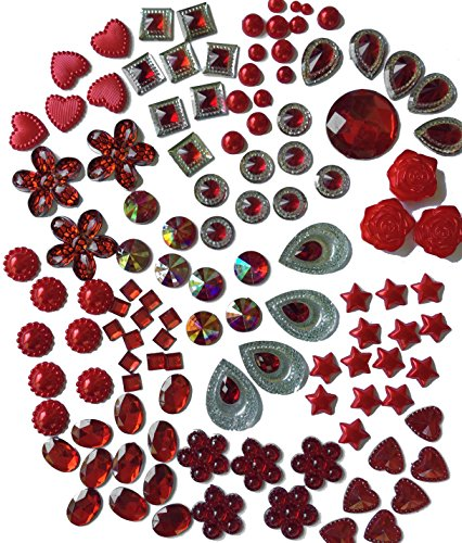 300 Pcs of Red Pearl Finish, Iridescent Flat Back Tear Drop Beads Cabochons Assorted Sizes 4mm-18mm by Olivia Pearl Designs