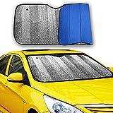 Big Hippo Front Car Sunshade Windshield-Jumbo/Standard Sun Shade Keeps Vehicle Cool-UV Ray Protector Sunshade-Easy to Use Sun Shade-Silver/Blue Sides(Size: 55.16