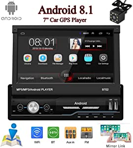 "Single Din Car Stereo Android 8.1 Car GPS Navigation Stereo,1 din in-Dash Head Unit,7"" Folding Touch Screen MP5 Player with Bluetooth FM/TF/USB/Aux-in/GPS,1GB RAM+16GB"