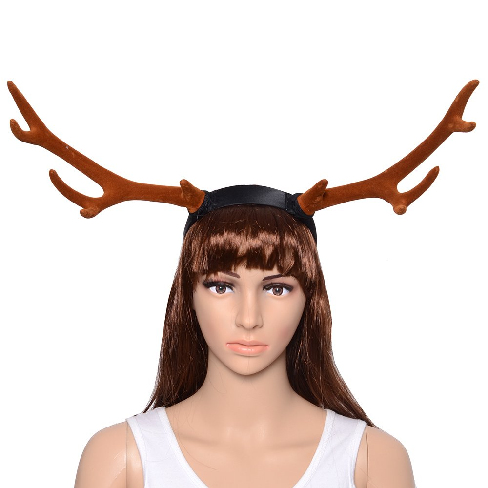 CHICHIC Christmas Reindeer Antlers Headbands Kids Head Band Christmas Reindeer Hats Reindeers Deer Hairband Christmas Ornaments Decorations Cosplay Costume Easter Day Party, Brown, Long by CHICHIC