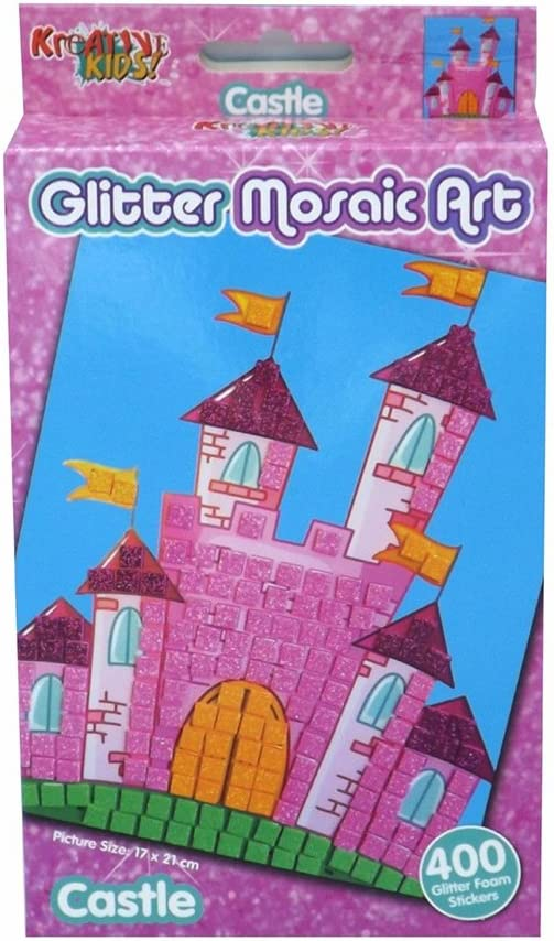 Childrens Kids Glitter Unicorn Princess Castle Arts and Crafts Mosaic Set Castle
