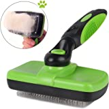 Pet Grooming Brush-Self Cleaning Slicker Brushes for Dogs and Cats Long & Thick Hair Best Pet Shedding Tool for Grooming Loose Undercoat,Tangled Knots & Matted Fur - Green/Black