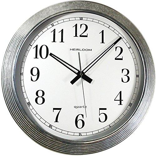 Artistic 401ZWA Wall Clock, Galvanized Metal, 16-Inch, White Dial Silver