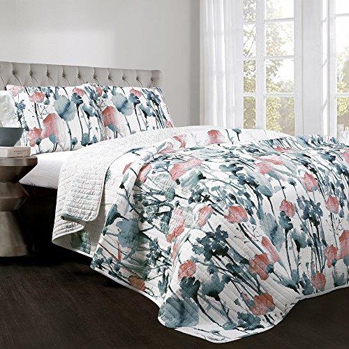Flora Floral Comforter - Lush Decor Zuri Flora 3 Piece Quilt Set, King, Blue & Coral