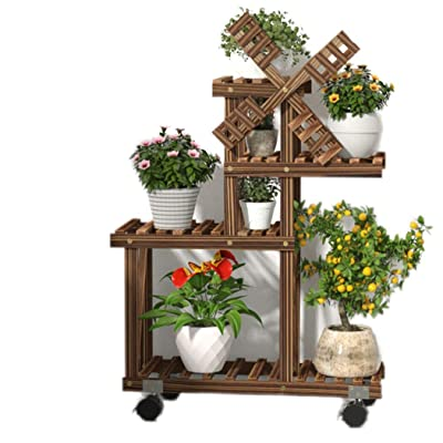RomanticDesign Wood Plant Stand Indoor Outdoor 4 Tier Plant Shelf Multiple Flower Pot Stand Holder Rolling Flower Display Rack Holder Patio Garden Corner Living Room (Windmill Design, Space Saving) : Garden & Outdoor