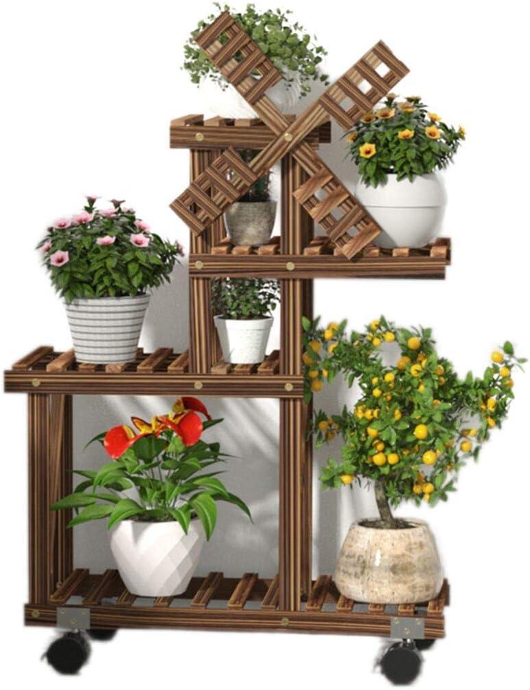 RomanticDesign Wood Plant Stand Indoor Outdoor 4 Tier Plant Shelf Multiple Flower Pot Stand Holder Rolling Flower Display Rack Holder Patio Garden Corner Living Room (Windmill Design,Space Saving)