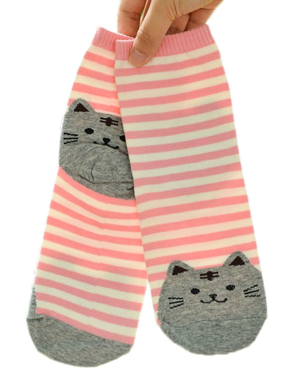 Woo2u Women Cat Cartoon Stripes Cotton Ankle Socks