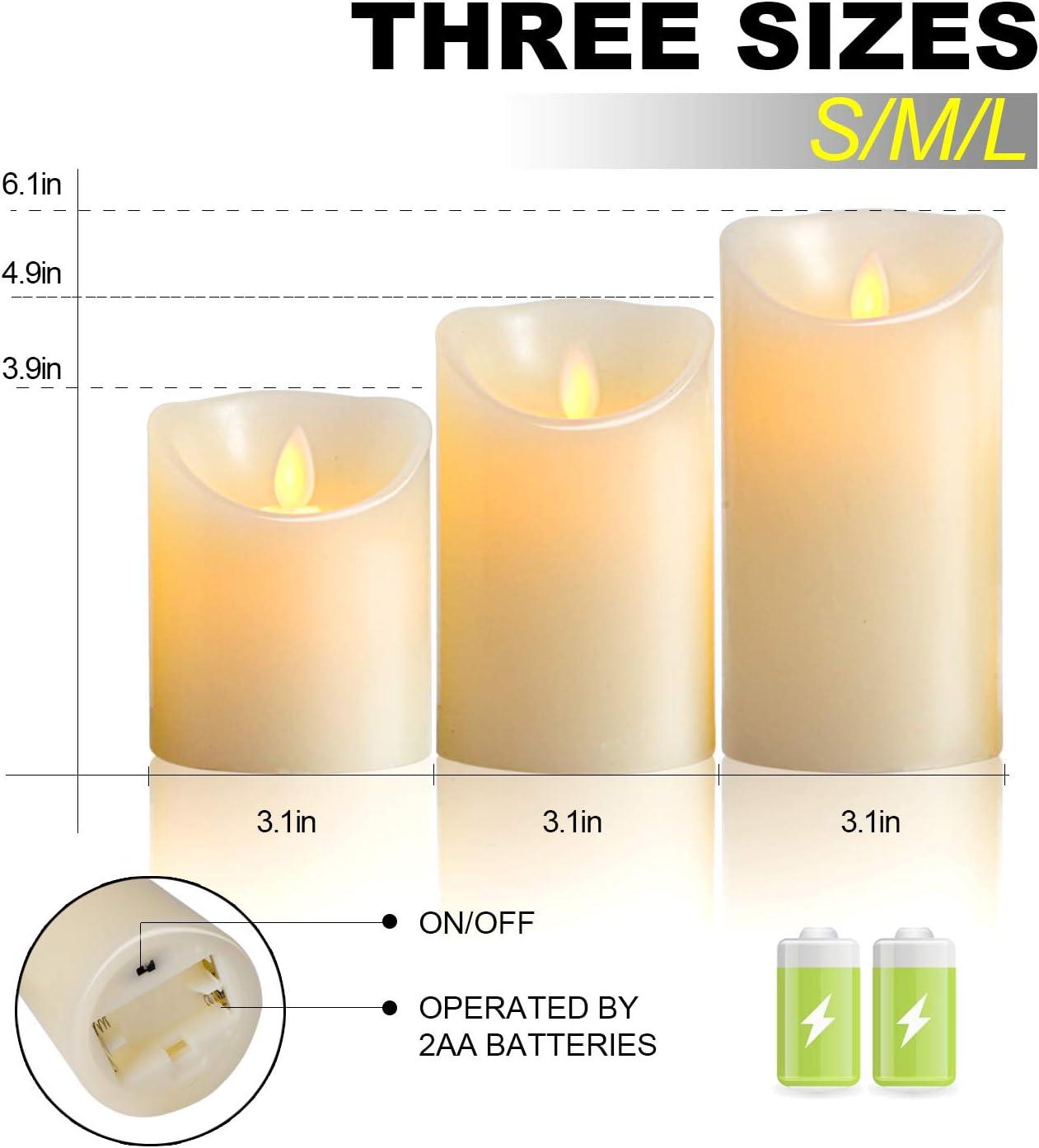 3 * 1, Ivory OSHINE LED-Kerzen,led kerzen mit timer,Flammenlose Kerzen 300 Stunden Dekorations-Kerzen-S/äulen im 3er Set 10-Tasten Fernbedienung mit 24 Stunden Timer-Funktion