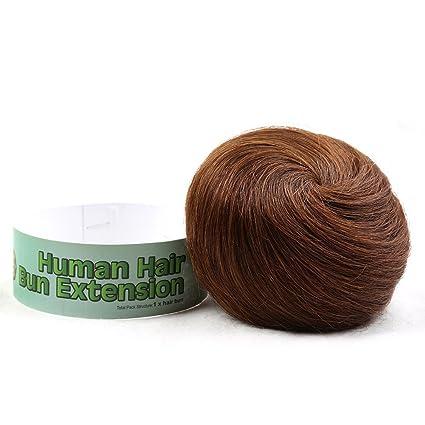 Bella pelo 100% humano Extensión de pelo moño Donut Chignon Postizos para hombres y mujeres