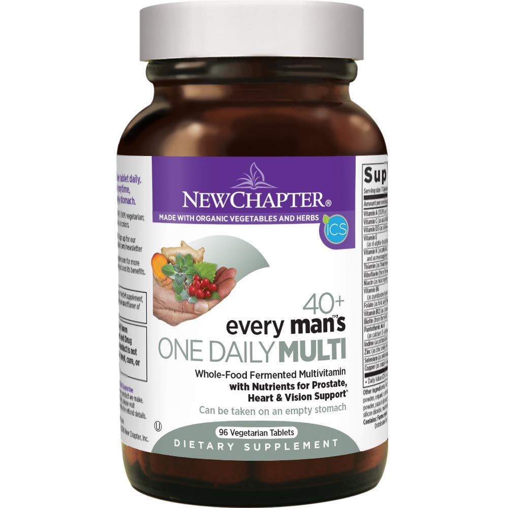New Chapter Men's Multivitamin, Every Man's One Daily 40+, Fermented with Probiotics + Saw Palmetto + B Vitamins + Vitamin D3 + Organic Non-GMO Ingredients - 96 ct (Packaging May Vary)