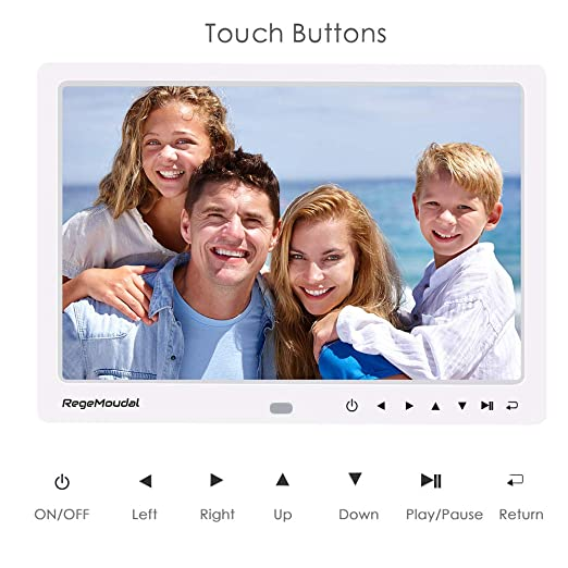 Marcos Digitales, RegeMoudal Marco de Fotos Digital 12 Pulgadas HD 1080P LED Marco Digital de Fotos y Videos Alta Resolución Calendario Reloj Reproductor de ...
