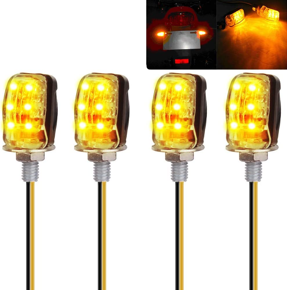 Yizhet 4 Stk 6led Microblinker Mini Motorrad Blinker Universal Wasserdicht Mit E Mark Bernstein Licht Für 12v Led Motorrad Blinkleuchte Blinker Lampe Signal Leucht Auto