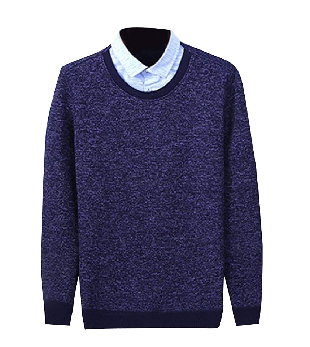 YUNY Mens Knitted Polo-Collar Slim Pullover Fake Two Pieces Sweaters Navy Blue S